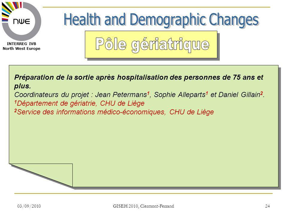 03/09/2010 GISEH 2010, Clermont-Ferrand 24 INTERREG IVB North West Europe Préparation de la sortie après hospitalisation des personnes de 75 ans et pl