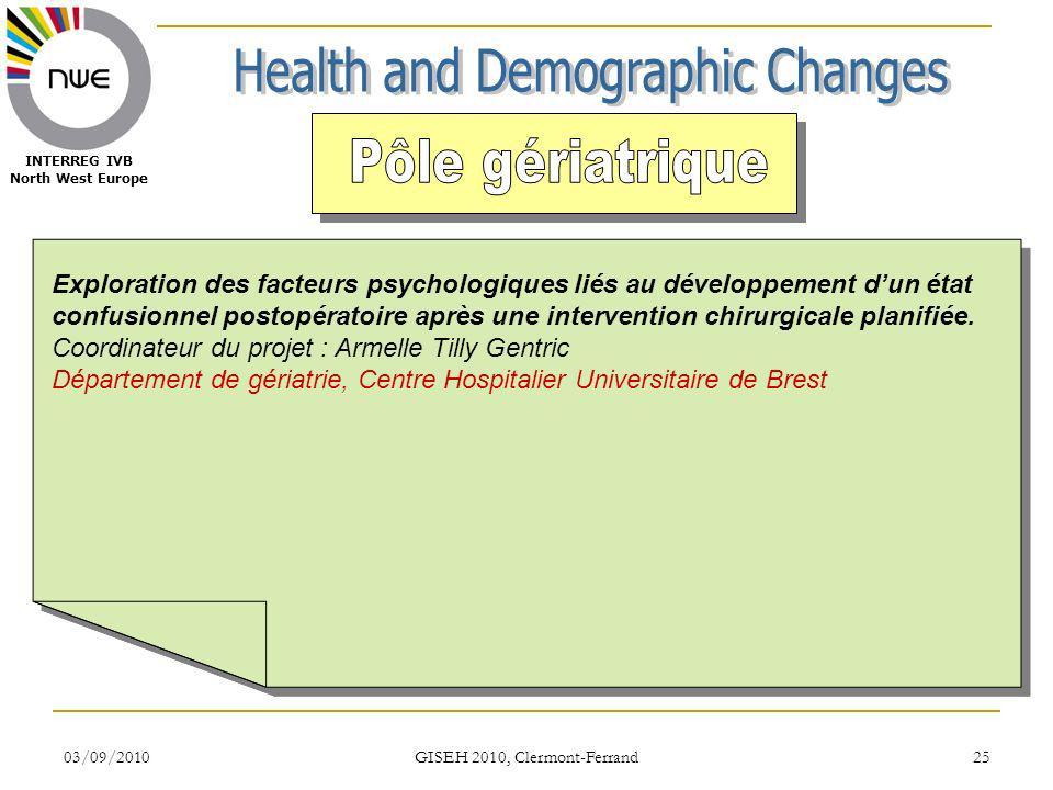 03/09/2010 GISEH 2010, Clermont-Ferrand 25 INTERREG IVB North West Europe Exploration des facteurs psychologiques liés au développement dun état confusionnel postopératoire après une intervention chirurgicale planifiée.