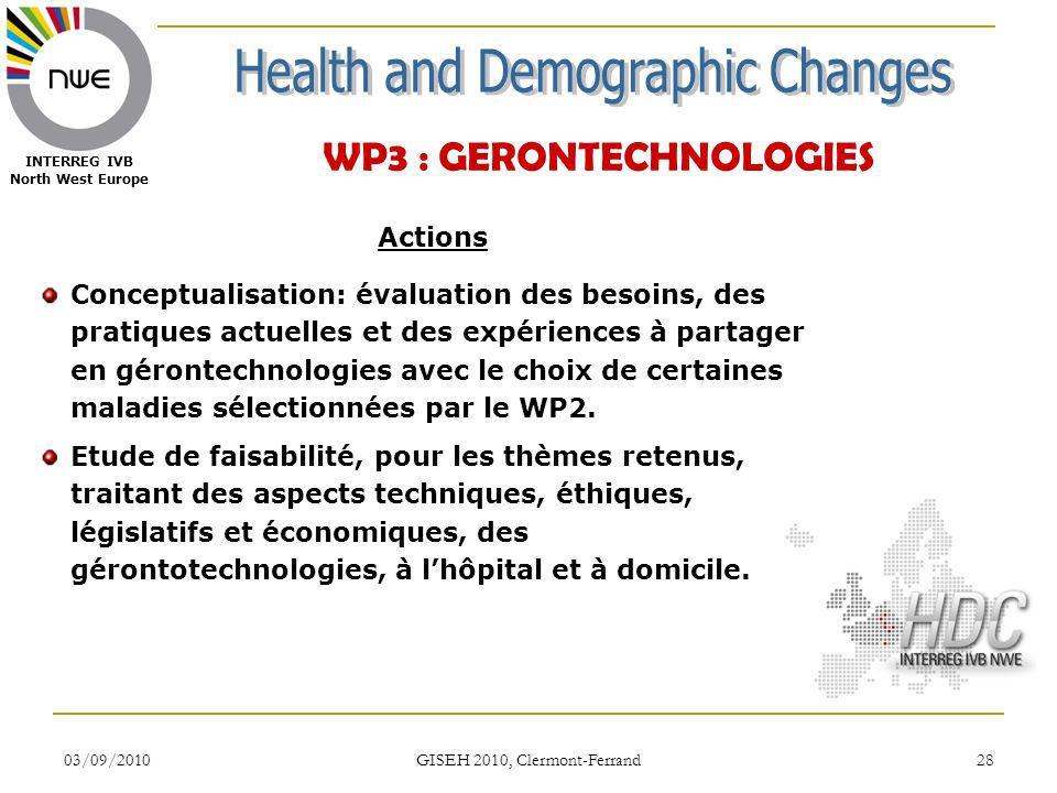 03/09/2010 GISEH 2010, Clermont-Ferrand 28 INTERREG IVB North West Europe WP3 : GERONTECHNOLOGIES Actions Conceptualisation: évaluation des besoins, d