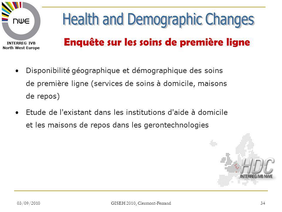 03/09/2010 GISEH 2010, Clermont-Ferrand 34 INTERREG IVB North West Europe Enquête sur les soins de première ligne Disponibilité géographique et démogr