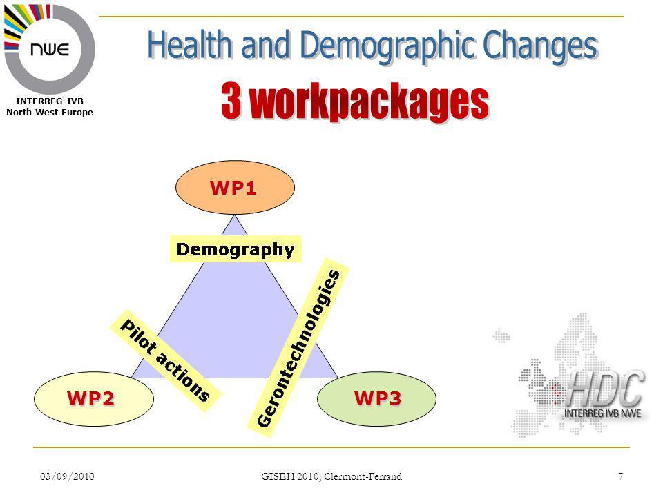 03/09/2010 GISEH 2010, Clermont-Ferrand 28 INTERREG IVB North West Europe WP3 : GERONTECHNOLOGIES Actions Conceptualisation: évaluation des besoins, des pratiques actuelles et des expériences à partager en gérontechnologies avec le choix de certaines maladies sélectionnées par le WP2.
