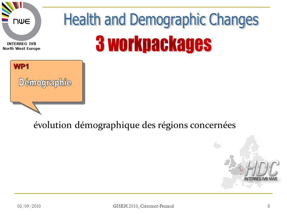 03/09/2010 GISEH 2010, Clermont-Ferrand 8 WP1WP1 INTERREG IVB North West Europe évolution démographique des régions concernées