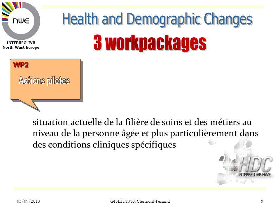 03/09/2010 GISEH 2010, Clermont-Ferrand 9 WP2WP2 INTERREG IVB North West Europe situation actuelle de la filière de soins et des métiers au niveau de la personne âgée et plus particulièrement dans des conditions cliniques spécifiques