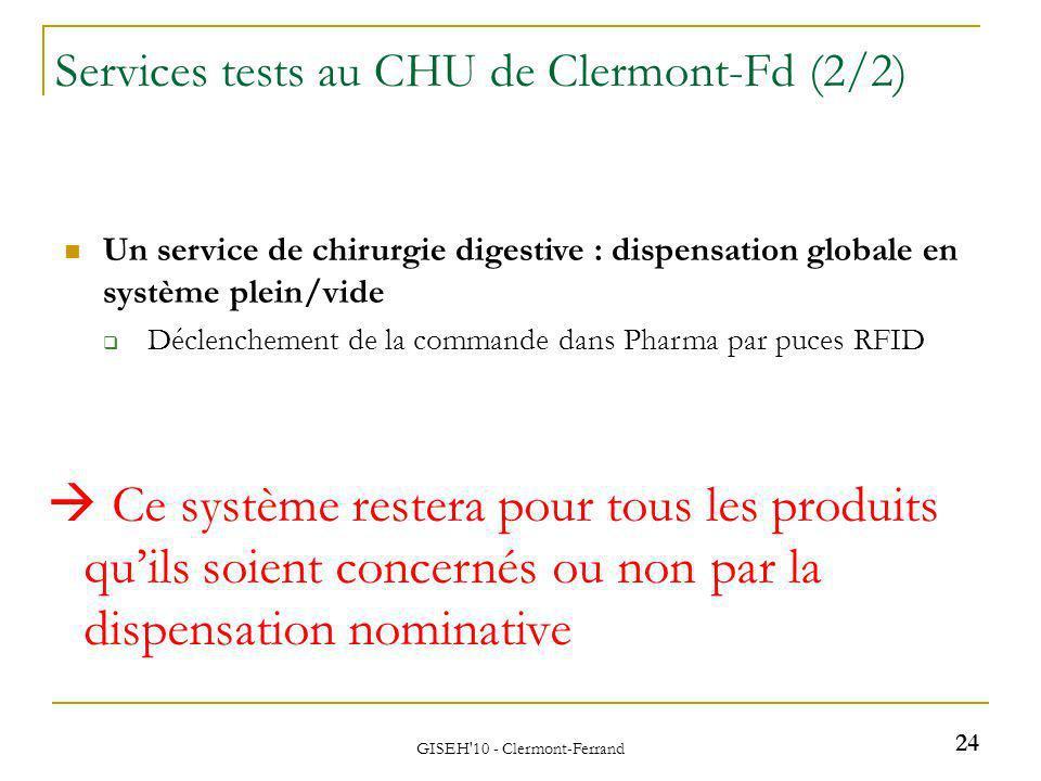 GISEH'10 - Clermont-Ferrand Un service de chirurgie digestive : dispensation globale en système plein/vide Déclenchement de la commande dans Pharma pa