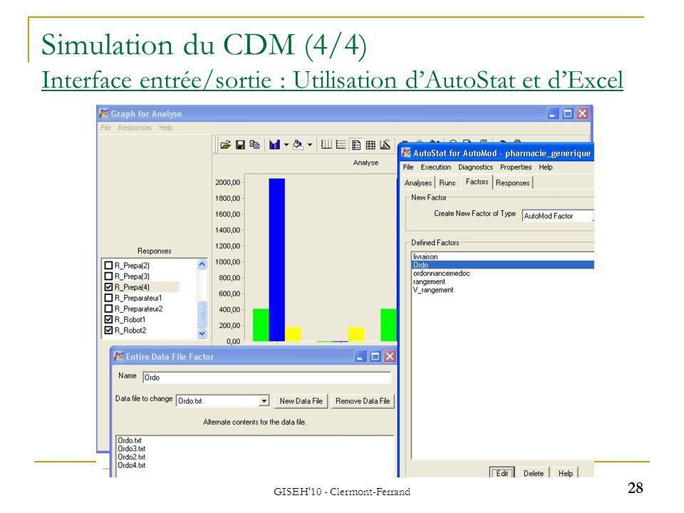 GISEH'10 - Clermont-Ferrand 28 Simulation du CDM (4/4) Interface entrée/sortie : Utilisation dAutoStat et dExcel