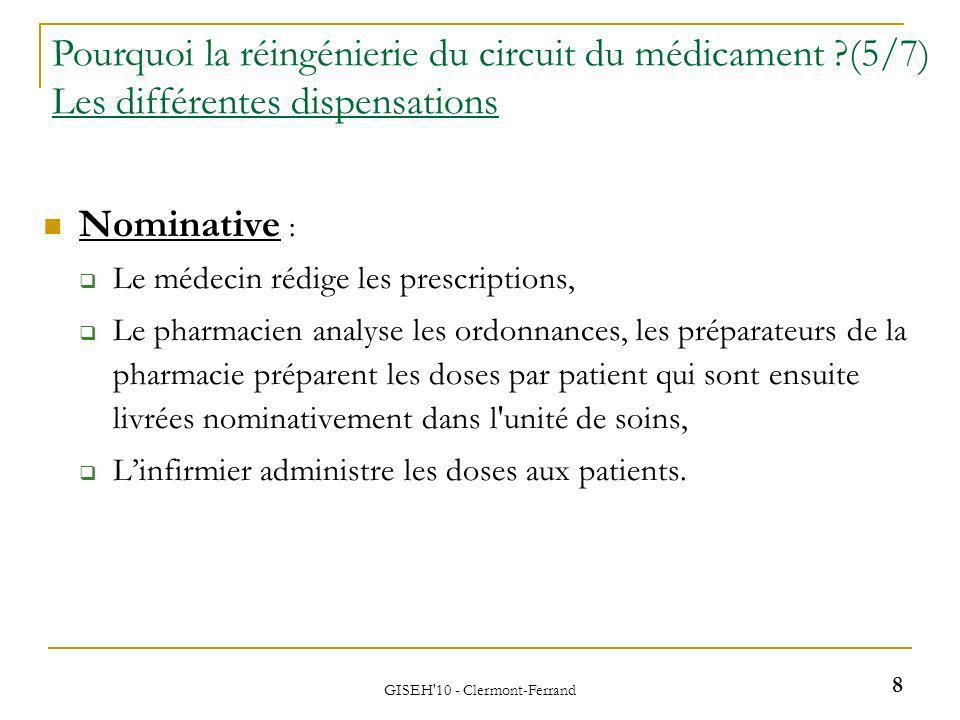 Nominative : Le médecin rédige les prescriptions, Le pharmacien analyse les ordonnances, les préparateurs de la pharmacie préparent les doses par patient qui sont ensuite livrées nominativement dans l unité de soins, Linfirmier administre les doses aux patients.