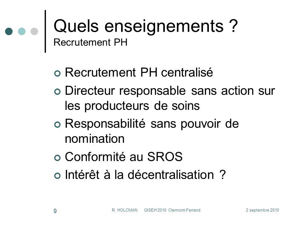 2 septembre 2010R.HOLCMAN GISEH 2010 Clermont-Ferrand 10 Quels enseignements .