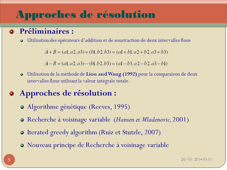26/03/2014 01:03 5 Approches de résolution Préliminaires : Utilisation des opérateurs daddition et de soustraction de deux intervalles flous Utilisati