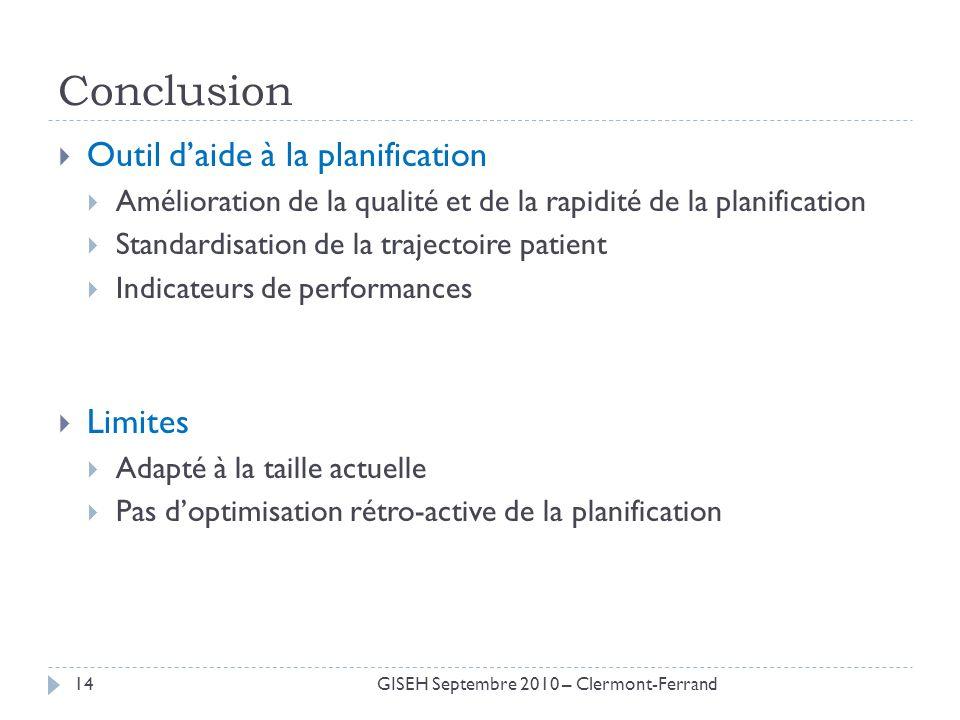 Conclusion Outil daide à la planification Amélioration de la qualité et de la rapidité de la planification Standardisation de la trajectoire patient I