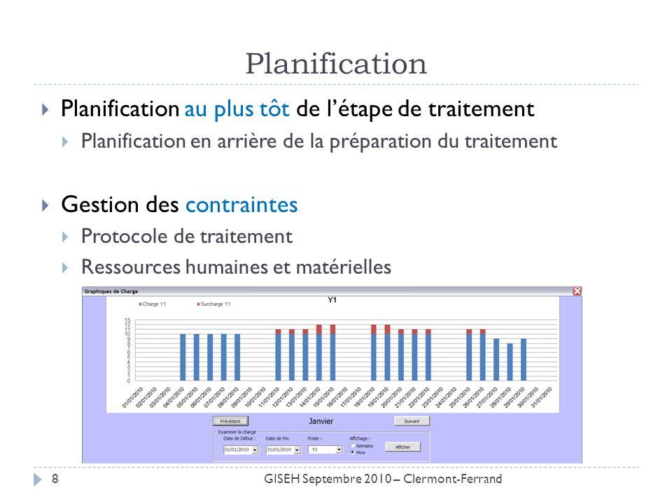 Planification Planification au plus tôt de létape de traitement Planification en arrière de la préparation du traitement Gestion des contraintes Proto