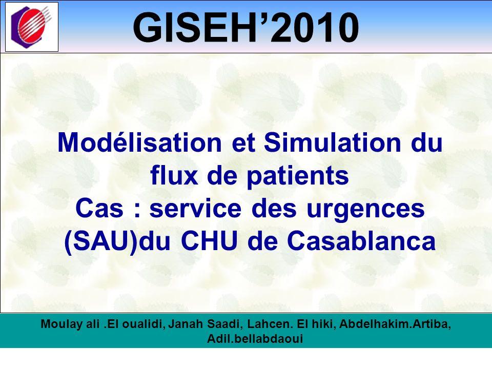 GISEH2010 Modélisation et Simulation du flux de patients Cas : service des urgences (SAU)du CHU de Casablanca Moulay ali.El oualidi, Janah Saadi, Lahc