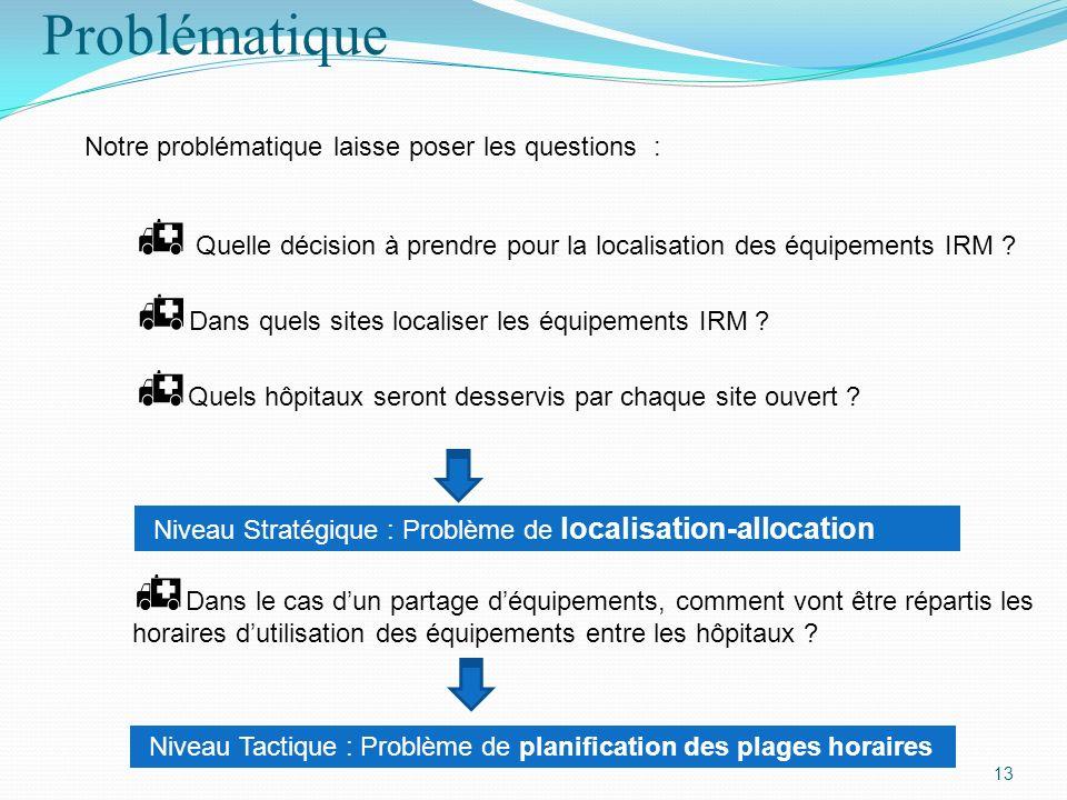 Problématique 13 Notre problématique laisse poser les questions : Quelle décision à prendre pour la localisation des équipements IRM ? Dans quels site
