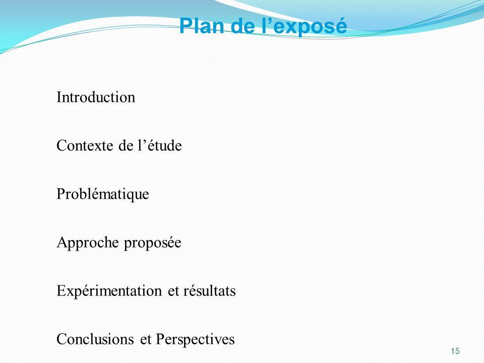 Plan de lexposé Introduction Contexte de létude Problématique Approche proposée Expérimentation et résultats Conclusions et Perspectives 15