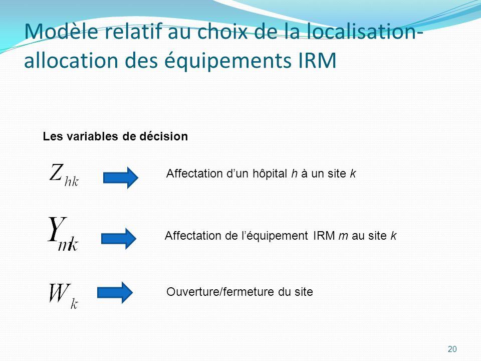 20 Modèle relatif au choix de la localisation- allocation des équipements IRM Les variables de décision Affectation dun hôpital h à un site k Affectat