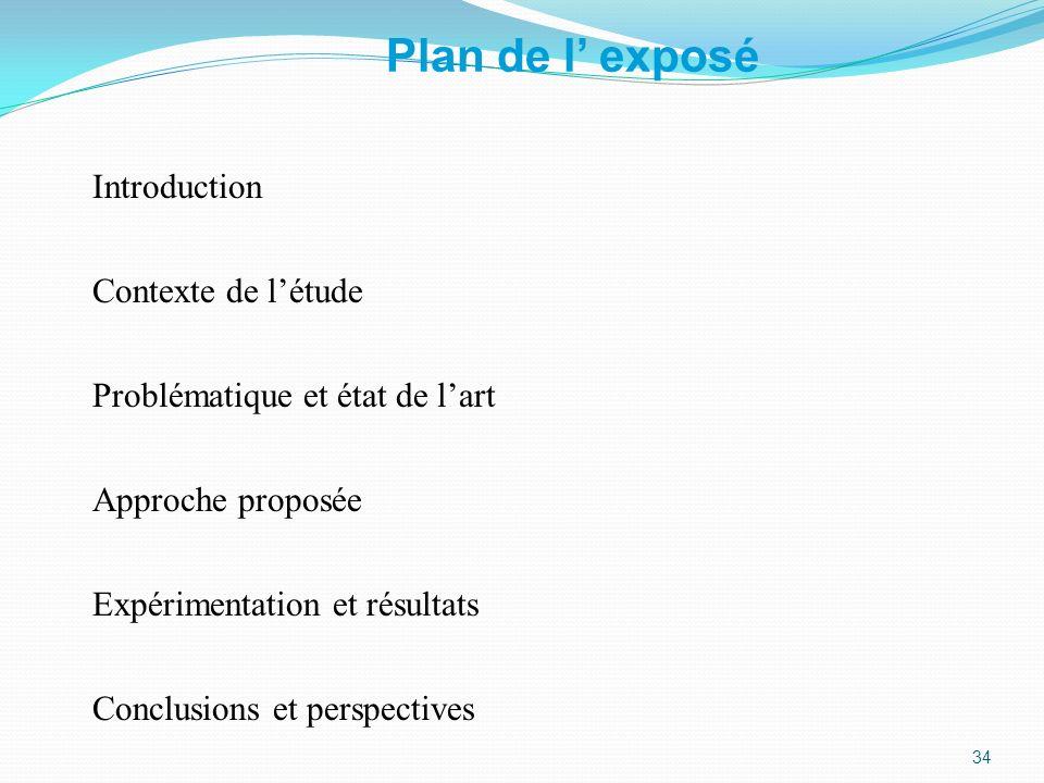 Plan de l exposé Introduction Contexte de létude Problématique et état de lart Approche proposée Expérimentation et résultats Conclusions et perspecti