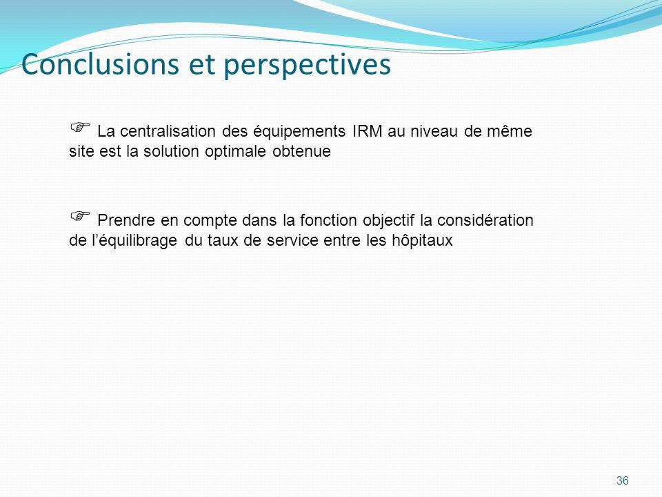 Conclusions et perspectives 36 Prendre en compte dans la fonction objectif la considération de léquilibrage du taux de service entre les hôpitaux La c