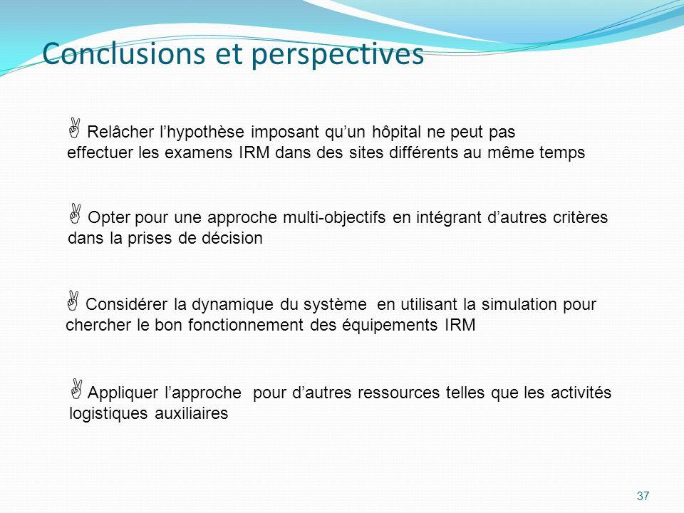 Conclusions et perspectives 37 Appliquer lapproche pour dautres ressources telles que les activités logistiques auxiliaires Relâcher lhypothèse imposa