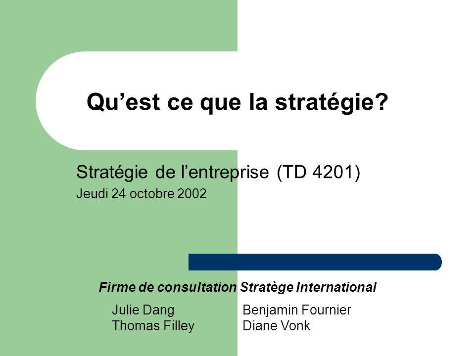 Quest ce que la stratégie? Stratégie de lentreprise (TD 4201) Jeudi 24 octobre 2002 Firme de consultation Stratège International Julie Dang Thomas Fil