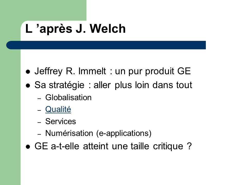 L après J. Welch Jeffrey R. Immelt : un pur produit GE Sa stratégie : aller plus loin dans tout – Globalisation – Qualité Qualité – Services – Numéris