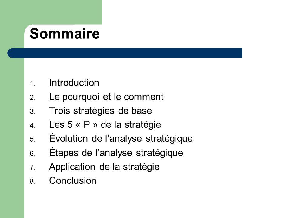 Sommaire 1. Introduction 2. Le pourquoi et le comment 3. Trois stratégies de base 4. Les 5 « P » de la stratégie 5. Évolution de lanalyse stratégique