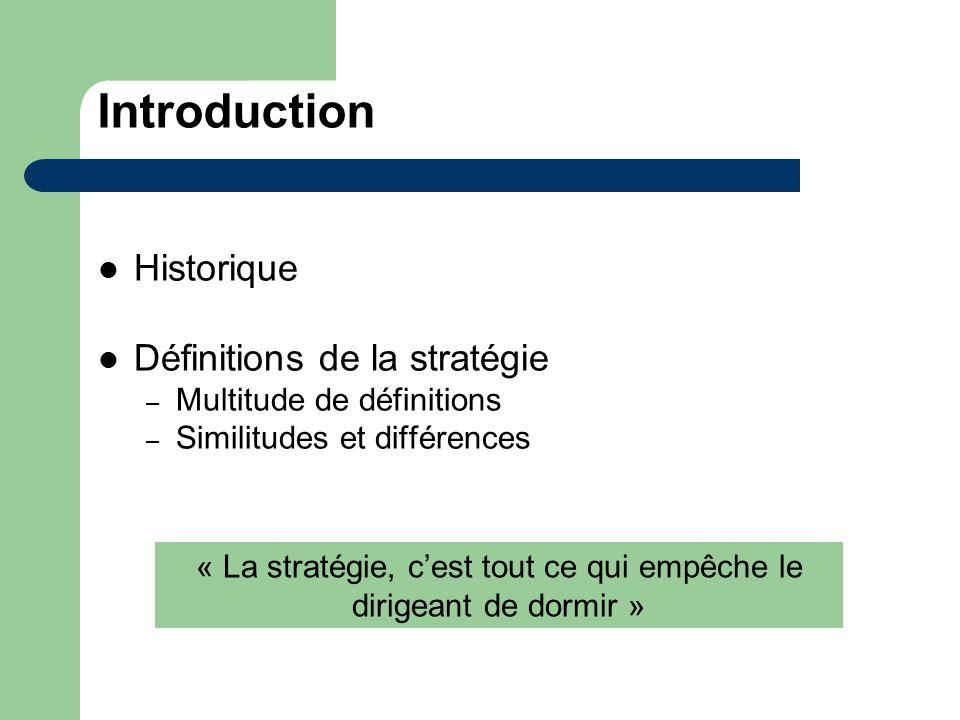 Introduction Historique Définitions de la stratégie – Multitude de définitions – Similitudes et différences « La stratégie, cest tout ce qui empêche l