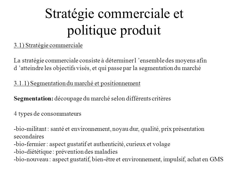 Stratégie commerciale et politique produit 3.1) Stratégie commerciale La stratégie commerciale consiste à déterminer l ensemble des moyens afin d atte