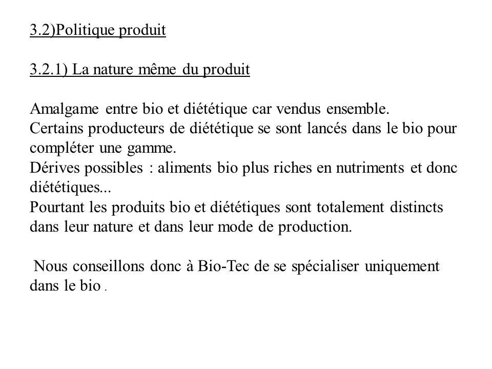3.2)Politique produit 3.2.1) La nature même du produit Amalgame entre bio et diététique car vendus ensemble. Certains producteurs de diététique se son
