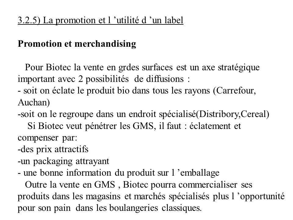 3.2.5) La promotion et l utilité d un label Promotion et merchandising Pour Biotec la vente en grdes surfaces est un axe stratégique important avec 2