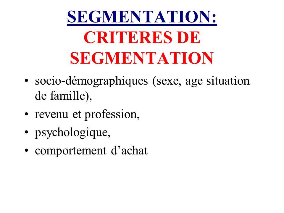 SEGMENTATION: CRITERES DE SEGMENTATION socio-démographiques (sexe, age situation de famille), revenu et profession, psychologique, comportement dachat