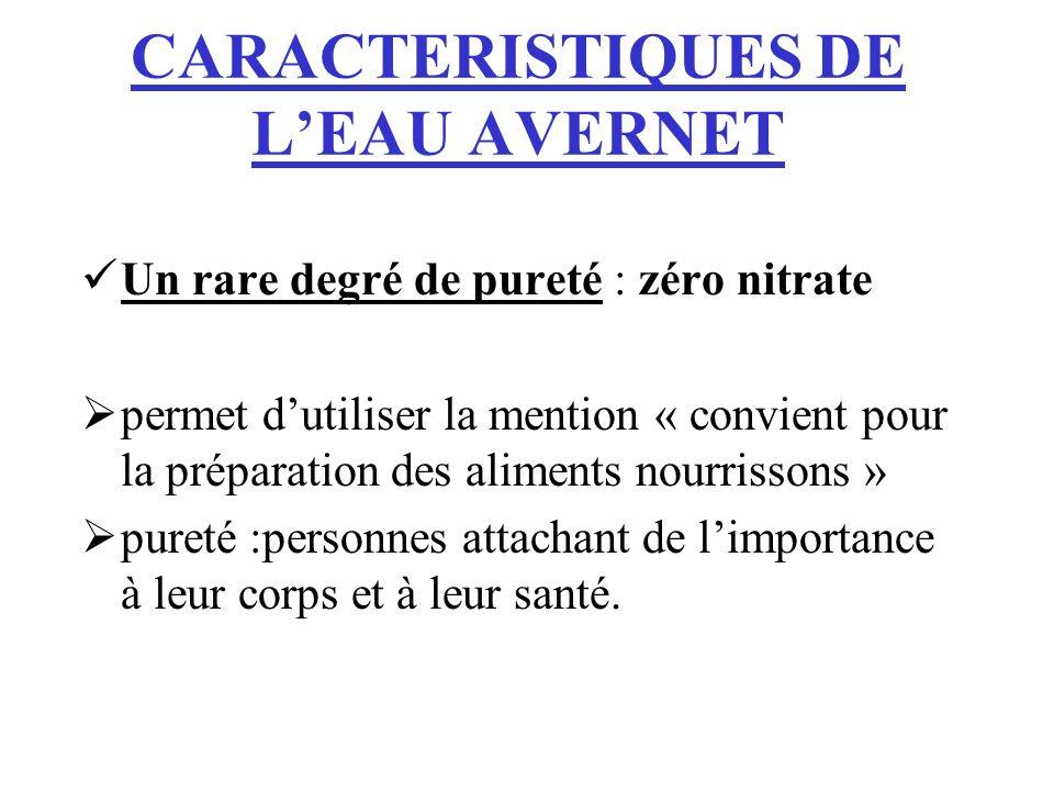 CARACTERISTIQUES DE LEAU AVERNET Un rare degré de pureté : zéro nitrate permet dutiliser la mention « convient pour la préparation des aliments nourri