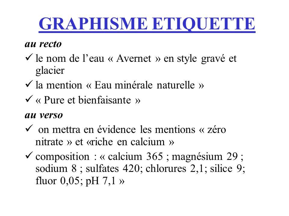 GRAPHISME ETIQUETTE au recto le nom de leau « Avernet » en style gravé et glacier la mention « Eau minérale naturelle » « Pure et bienfaisante » au ve