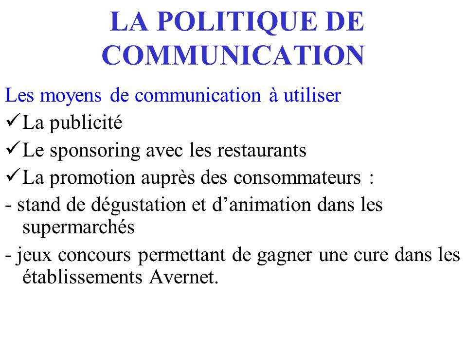 LA POLITIQUE DE COMMUNICATION Les moyens de communication à utiliser La publicité Le sponsoring avec les restaurants La promotion auprès des consommat