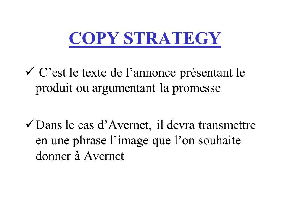 COPY STRATEGY Cest le texte de lannonce présentant le produit ou argumentant la promesse Dans le cas dAvernet, il devra transmettre en une phrase lima