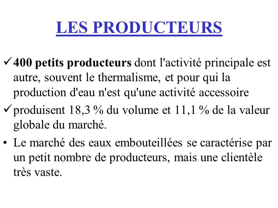 LES PRODUCTEURS 400 petits producteurs dont l'activité principale est autre, souvent le thermalisme, et pour qui la production d'eau n'est qu'une acti