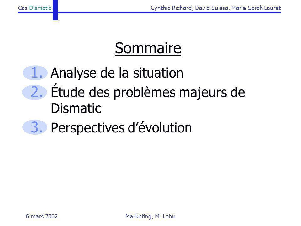 Cas DismaticCynthia Richard, David Suissa, Marie-Sarah Lauret 6 mars 2002Marketing, M. Lehu Sommaire 1. Analyse de la situation 2. Étude des problèmes