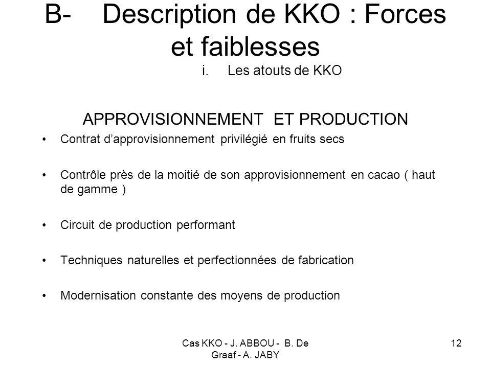 Cas KKO - J. ABBOU - B. De Graaf - A. JABY 12 B- Description de KKO : Forces et faiblesses i. Les atouts de KKO APPROVISIONNEMENT ET PRODUCTION Contra