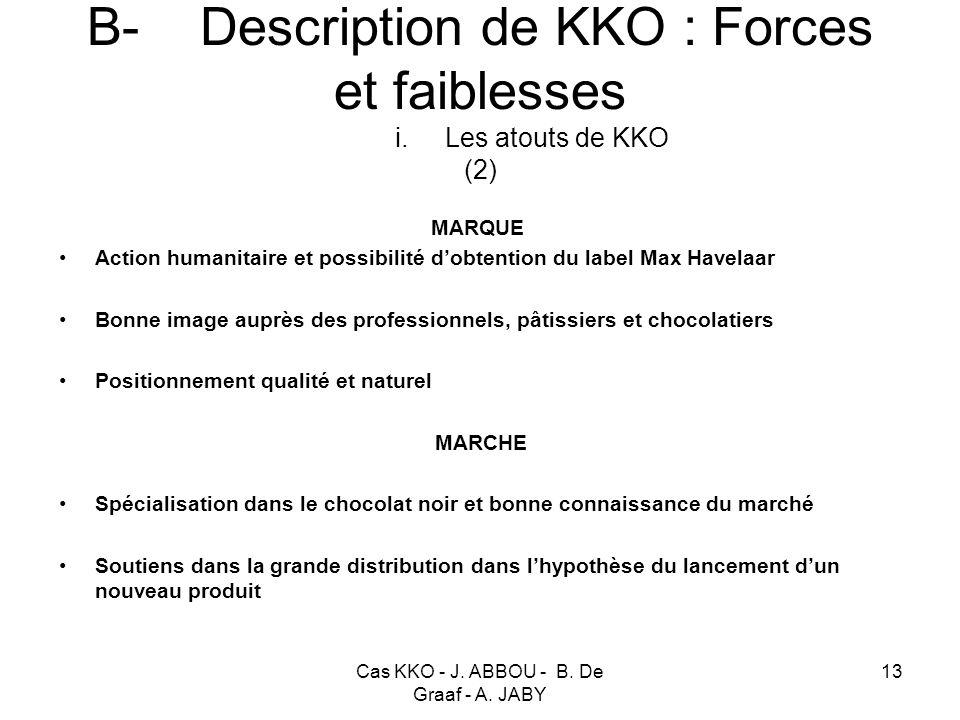 Cas KKO - J. ABBOU - B. De Graaf - A. JABY 13 B- Description de KKO : Forces et faiblesses i. Les atouts de KKO (2) MARQUE Action humanitaire et possi
