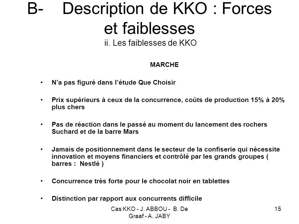 Cas KKO - J. ABBOU - B. De Graaf - A. JABY 15 B- Description de KKO : Forces et faiblesses ii. Les faiblesses de KKO MARCHE Na pas figuré dans létude