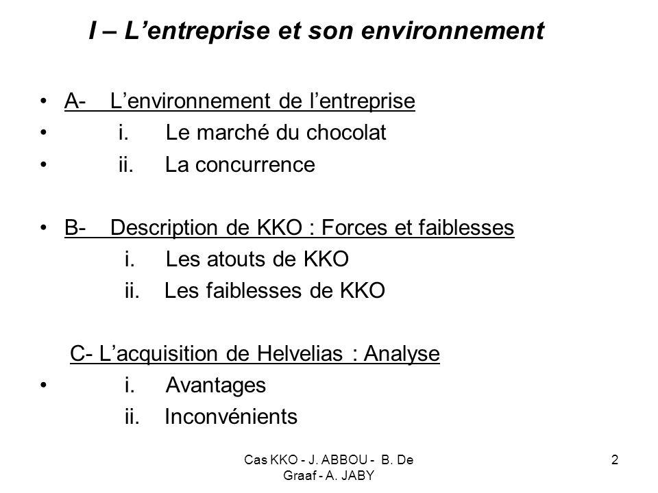 Cas KKO - J. ABBOU - B. De Graaf - A. JABY 2 I – Lentreprise et son environnement A- Lenvironnement de lentreprise i. Le marché du chocolat ii. La con