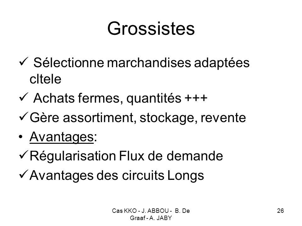 Cas KKO - J. ABBOU - B. De Graaf - A. JABY 26 Grossistes Sélectionne marchandises adaptées cltele Achats fermes, quantités +++ Gère assortiment, stock