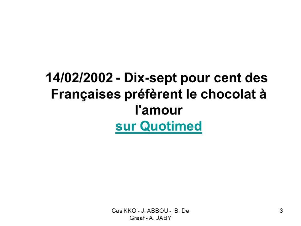 Cas KKO - J. ABBOU - B. De Graaf - A. JABY 3 14/02/2002 - Dix-sept pour cent des Françaises préfèrent le chocolat à l'amour sur Quotimed sur Quotimed