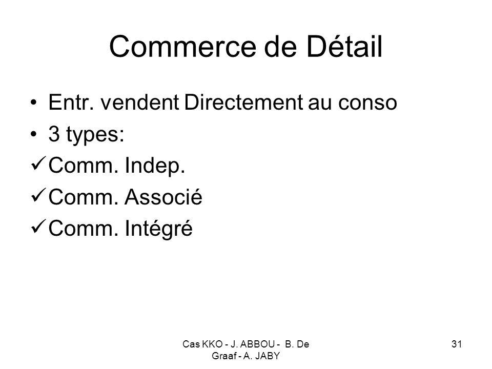 Cas KKO - J. ABBOU - B. De Graaf - A. JABY 31 Commerce de Détail Entr. vendent Directement au conso 3 types: Comm. Indep. Comm. Associé Comm. Intégré