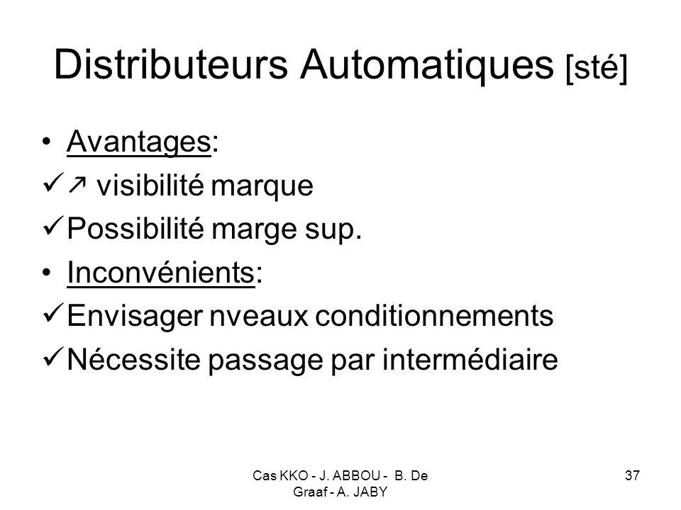 Cas KKO - J. ABBOU - B. De Graaf - A. JABY 37 Distributeurs Automatiques [sté] Avantages: visibilité marque Possibilité marge sup. Inconvénients: Envi