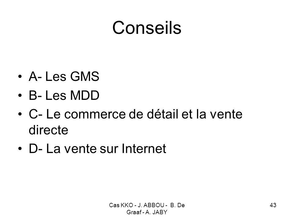 Cas KKO - J. ABBOU - B. De Graaf - A. JABY 43 Conseils A- Les GMS B- Les MDD C- Le commerce de détail et la vente directe D- La vente sur Internet