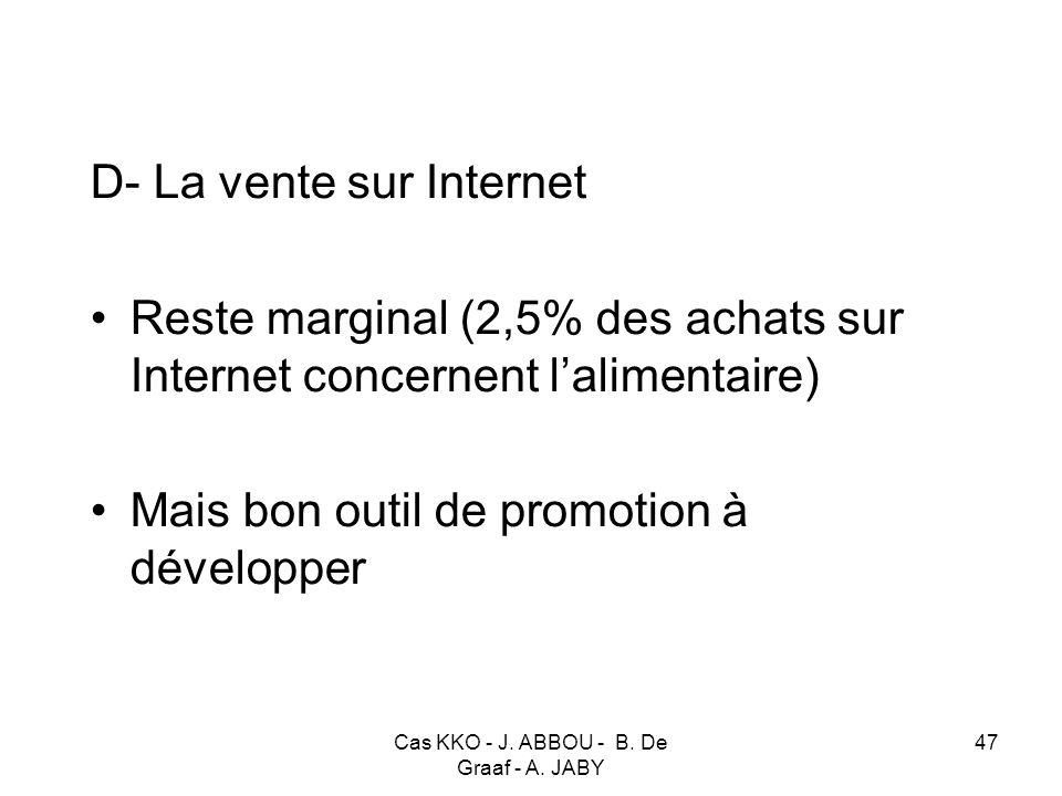 Cas KKO - J. ABBOU - B. De Graaf - A. JABY 47 D- La vente sur Internet Reste marginal (2,5% des achats sur Internet concernent lalimentaire) Mais bon