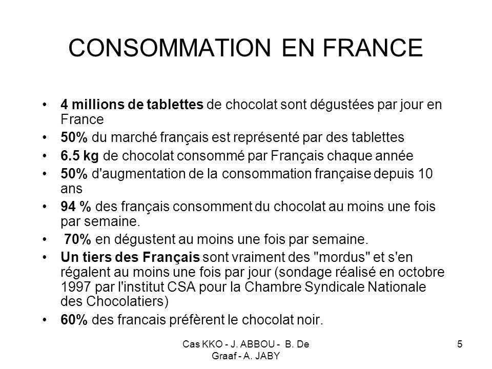 Cas KKO - J. ABBOU - B. De Graaf - A. JABY 5 CONSOMMATION EN FRANCE 4 millions de tablettes de chocolat sont dégustées par jour en France 50% du march