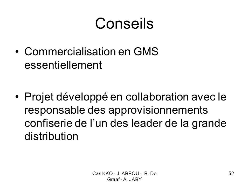 Cas KKO - J. ABBOU - B. De Graaf - A. JABY 52 Conseils Commercialisation en GMS essentiellement Projet développé en collaboration avec le responsable