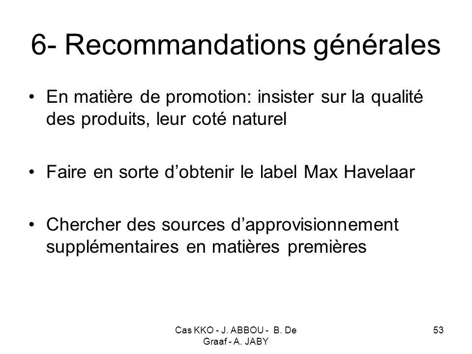 Cas KKO - J. ABBOU - B. De Graaf - A. JABY 53 6- Recommandations générales En matière de promotion: insister sur la qualité des produits, leur coté na