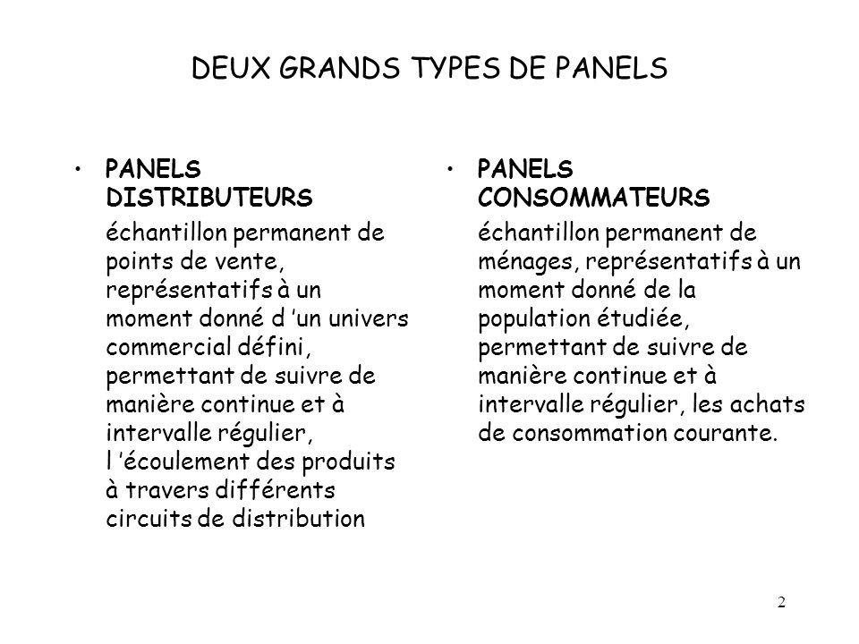 2 DEUX GRANDS TYPES DE PANELS PANELS DISTRIBUTEURS échantillon permanent de points de vente, représentatifs à un moment donné d un univers commercial