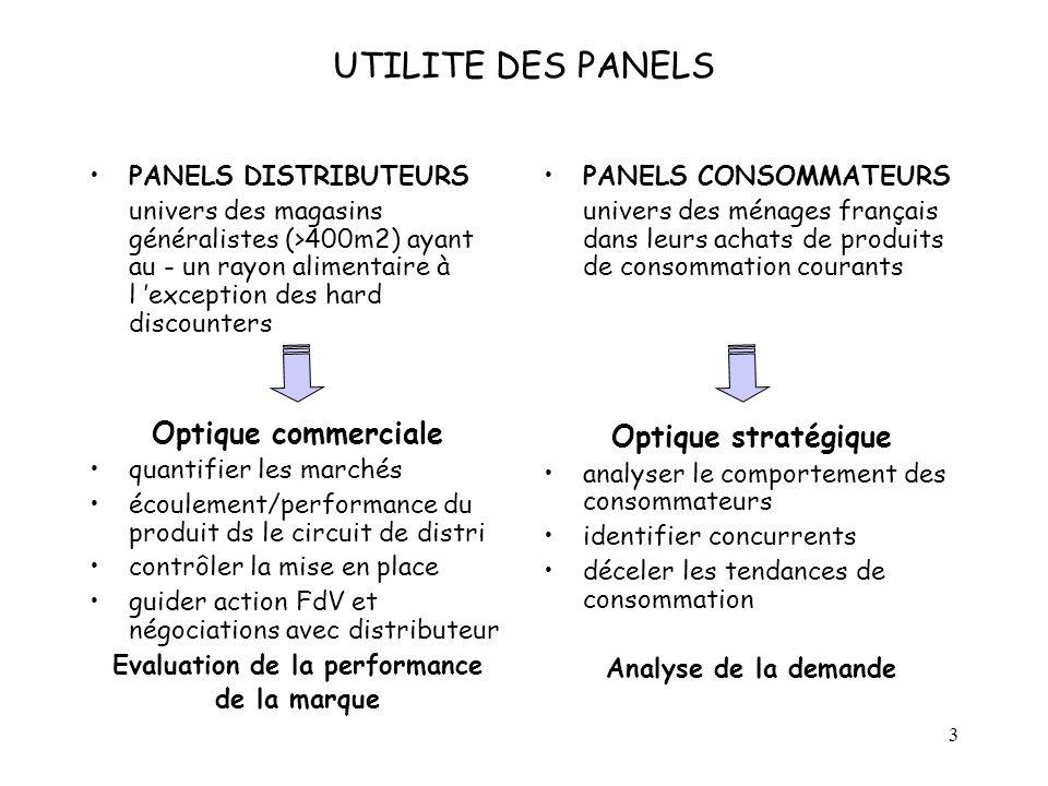 3 UTILITE DES PANELS PANELS DISTRIBUTEURS univers des magasins généralistes (>400m2) ayant au - un rayon alimentaire à l exception des hard discounter